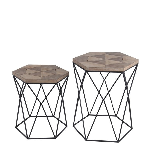 Privilege brown wood 2 piece accent stand set. Featuring Metal body, 20x17x23.5, 17x14.5x19.5.