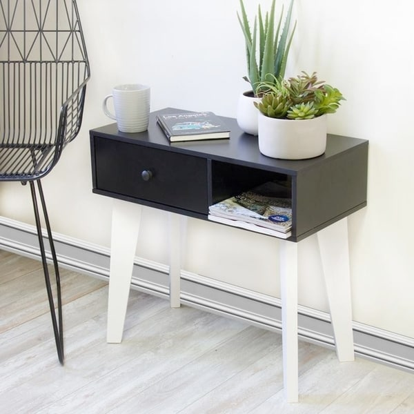 Lory Single Left Drawer Black Console Table