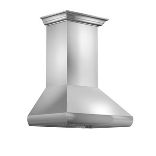 ZLINE 36 in. 900 CFM Professional Wall Mount Range Hood in Stainless Steel with Crown Molding (587CRN-36)