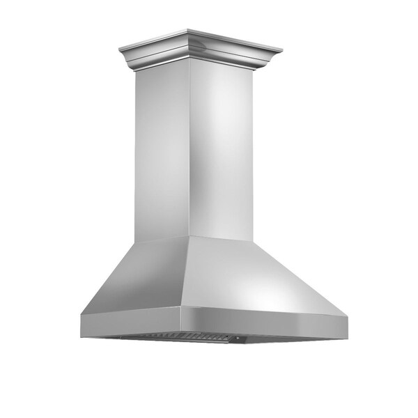 ZLINE 42 in. 900 CFM Wall Mount Range Hood in Stainless Steel with Crown Molding (597CRN-42)
