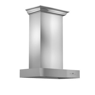 ZLINE 30 in. 900 CFM Professional Wall Mount Range Hood in Stainless Steel with Crown Molding (KECOMCRN-30)