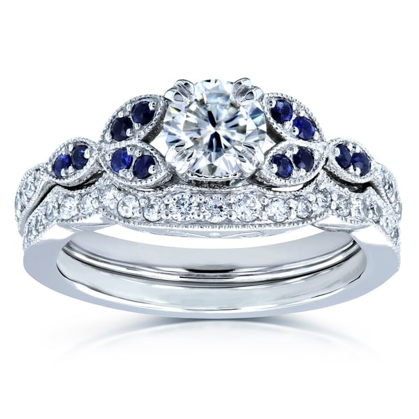 Annello by Kobelli 14k White Gold 7/8ct TGW Floral Round Moissanite Floral Bridal Set with Diamond and Sapphire. Opens flyout.
