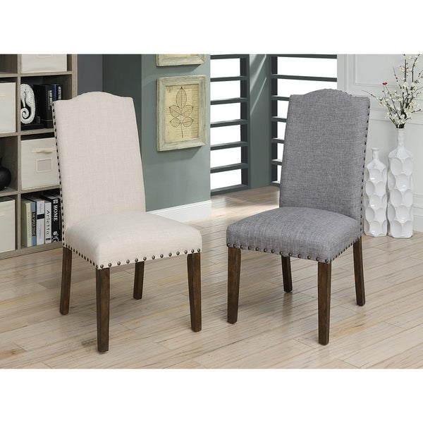 Furniture Of America Felicity II Rustic Walnut Upholstered Dining Chair  (Set Of 2)