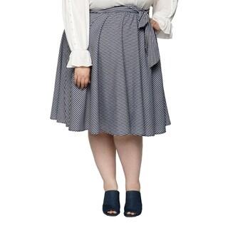 Xehar Womens Plus Size Casual Plaid Knee High Tie Waist Midi Skirt