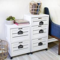 Havenside Home Oceanside 3-crated Drawer with Hanging Chalkboard White Filing Cabinet
