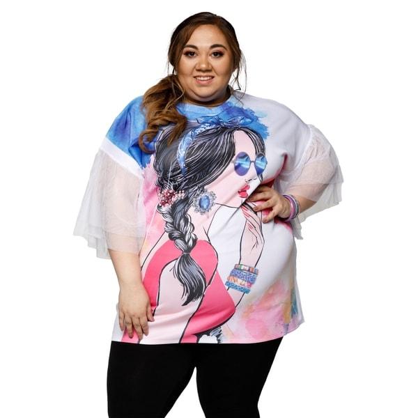 0c6ee577 Shop Xehar Womens Plus Size Stylish Graphic Tunic Blouse Tee Shirt ...