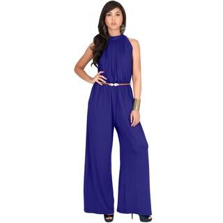 KOH KOH Women Beautiful Sleeveless Halter Neck Casual Work Jumpsuits (Option: indigo blue purple - S)