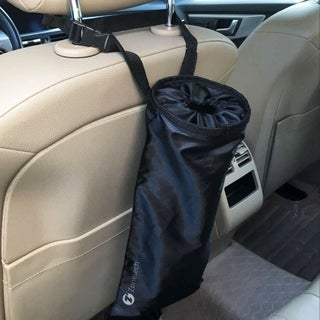 Zone Tech Vehicle Backseat Headrest Litter Bag  Classic Black Premium Quality Black Universal Traveling Portable Car Trash Can