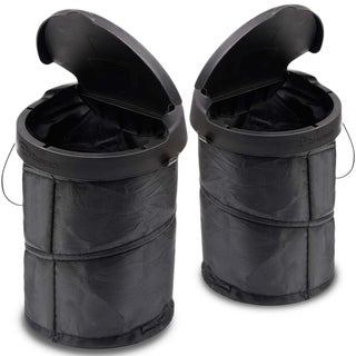 Zone Tech Universal Traveling Portable Car Trash Can - 2-Pack Black Collapsible Pop-up Leak Proof Trash Can