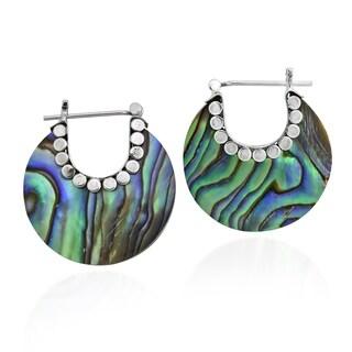 Link to Handmade Vibrant Bali Style Crescent Moon Hoop Lock Sterling Silver Earrings Similar Items in Earrings
