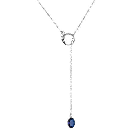 Handmade Elegant Blue Cubic Zirconia Oval Slide Through Sterling Silver Lariat Necklace (Thailand)