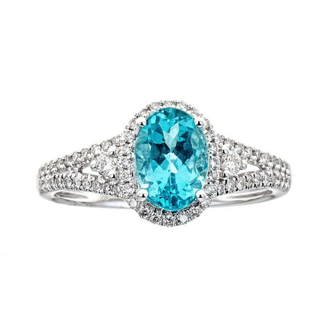 14K White Gold Apatite and Diamond Ring by Anika And August