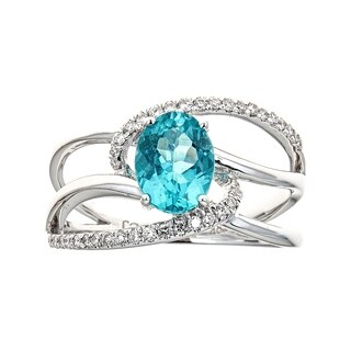 18K White Gold Apatite and Diamond Ring by Anika And August