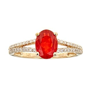 14K Yellow Gold Fire Opal and Diamond Ring by Anika And August - White