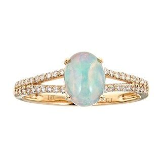 14K Yellow Gold Ethiopian Opal and Diamond Ring by Anika And August - White