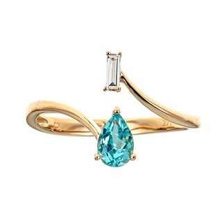 14K Yellow Gold Apatite and Diamond Ring by Anika And August - White