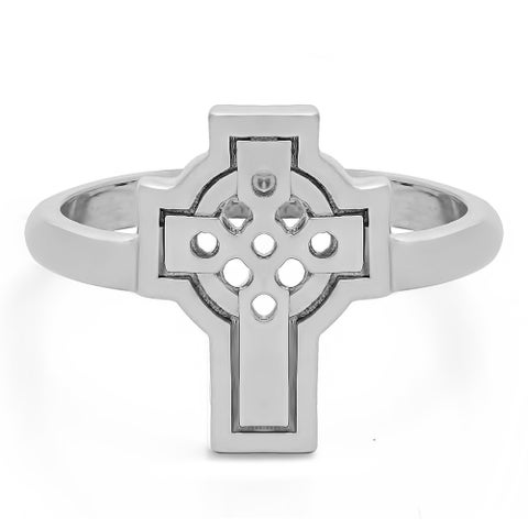 TwoBirch Celtic Cross Ring in Sterling Silver