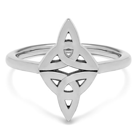TwoBirch Double Celtic Trinity Knott Ring in Sterling Silver