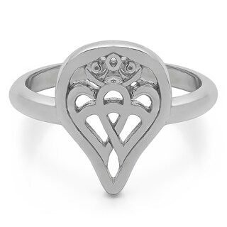 TwoBirch Celtic Double Heart Love Luckenbooth Ring in Sterling Silver