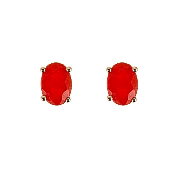 14k Yellow Gold Fire Opal Earring By Anika And August