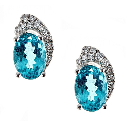 18K White Gold Apatite and Diamond Earring by Anika And August
