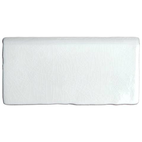 SomerTile 3x6-inch Antiguo Craquelle Gris Claro Bullnose Ceramic Wall Trim Tile (8 tiles)