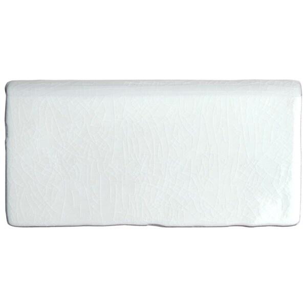 SomerTile 3x6-inch Antiguo Craquelle Gris Claro Bullnose Ceramic Wall Trim Tile (8 tiles). Opens flyout.