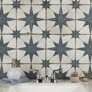 SomerTile 17.625x17.625-inch Royals Estrella Blue Ceramic Floor and Wall Tile (5 tiles/11.1 sqft.)
