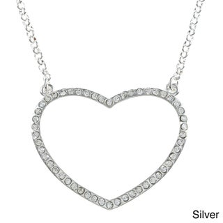 Goldtone Rhinestone Pave Open Heart Necklace (2 options available)