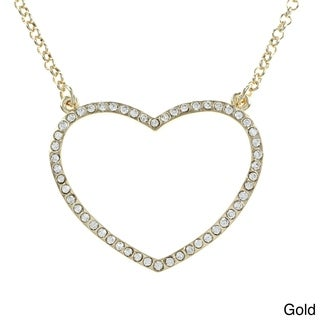 Goldtone Rhinestone Pave Open Heart Necklace