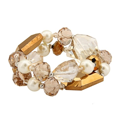 Two Row Bronze Pearl and Crystal Stretch Bracelet - brown
