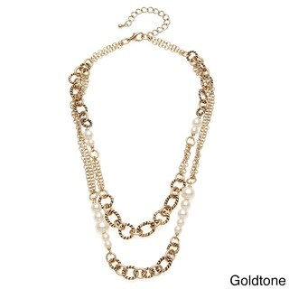 Goldtone or Silvertone Faux Pearl Two-row Chain Necklace