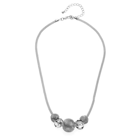Silvertone Mesh Faceted Glass Bead Slider Necklace - Silver
