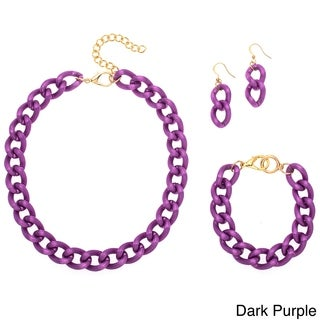 Medium Grooved Link Chain 3-piece Jewelry Set