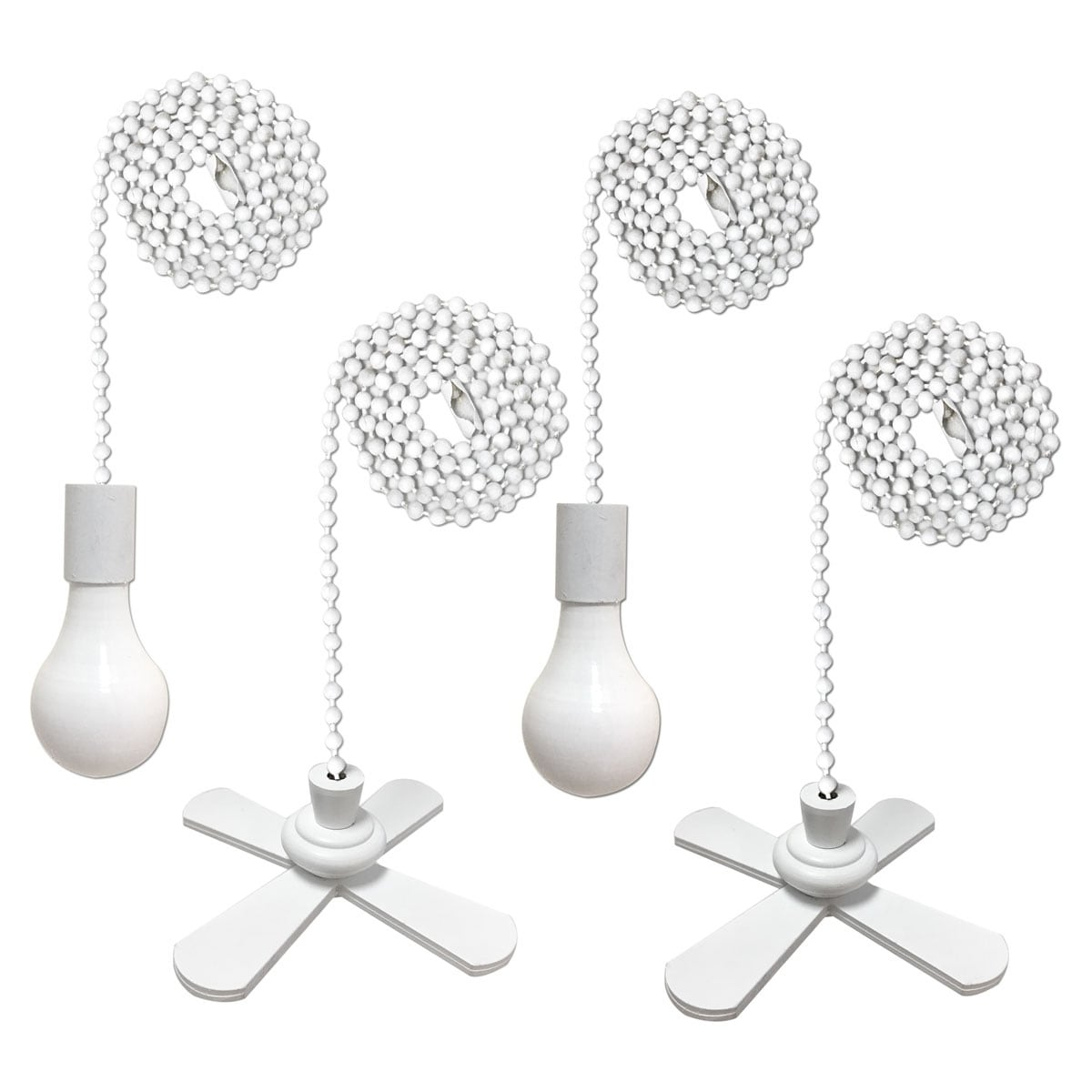 Royal Designs Fan And Light Bulb Shaped Pull Chain Set White Two Pair Overstock 20683385