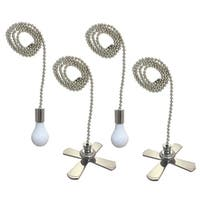 Royal Designs Fan and Light Bulb Shaped Pull Chain Set - Nickel Plated, Two Pair