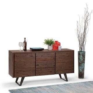 WYNDENHALL Mitchell Solid Acacia Wood and Metal 60 inchWide  Modern Industrial Sideboard Buffet in Distressed Charcoal Brown