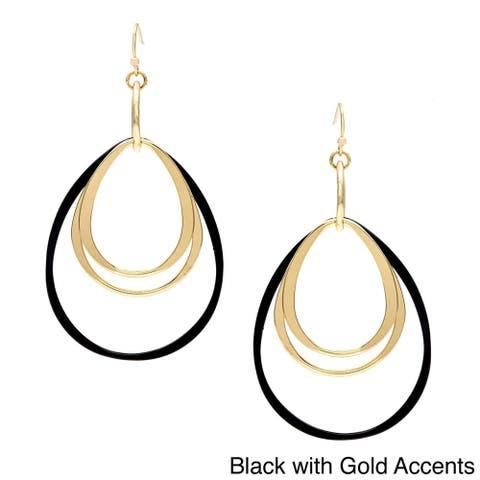 Goldtone and Black Multi-ring Teardrop-shaped Earrings