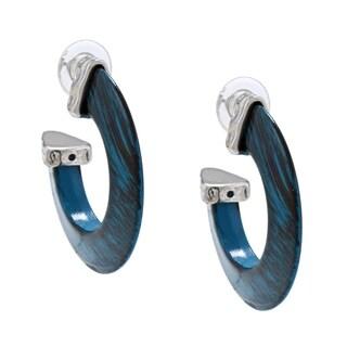 Silvertone Teal Lucite Hoop Earrings - Silver