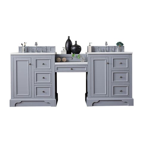 "De Soto 82"" Double Vanity Set, Silver Gray with Makeup Table, 3 CM Arctic Fall Solid Surface Top"
