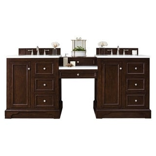 "De Soto 82"" Double Vanity Set, Burnished Mahogany with Makeup Table, 3 CM Carrara Marble Top"
