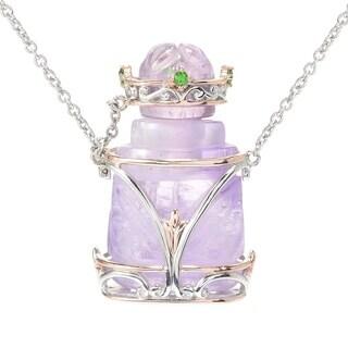 Michael Valitutti Palladium Silver Carved Amethyst Perfume Bottle & Gem Necklace - Purple