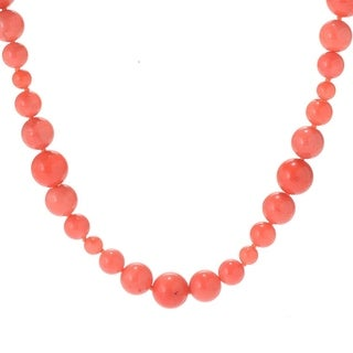 Michael Valitutti Palladium Silver Salmon Coral Graduated Toggle Necklace - Pink