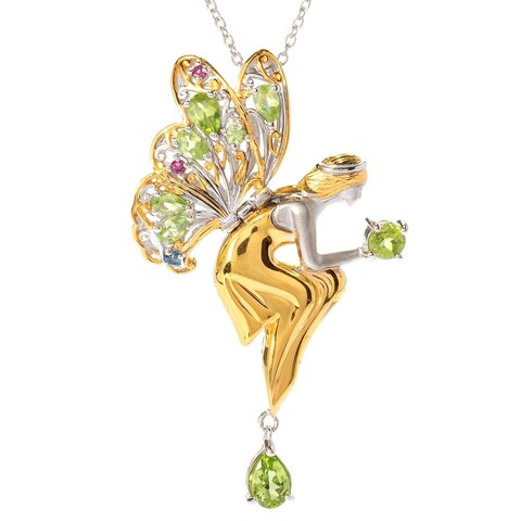 Michael Valitutti Palladium Silver Multi Shape Peridot & Gemstone Fairy Pendant - Green