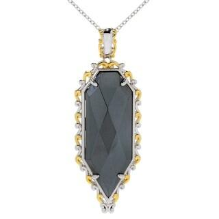 Michael Valitutti Palladium Silver Rose Cut Hematite Shield Necklace - Black