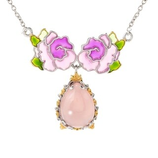 Michael Valitutti Palladium Silver Pink Chalcedony Stained Glass-Inspired Flower Necklace