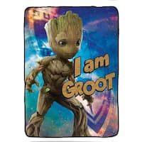 """Marvel Guardians of The Galaxy 2 I Am Groot Plush Twin Blanket, 62"""" x 90"""""""