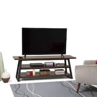WYNDENHALL Tyson Solid Wood 66 inch Wide Modern Industrial TV Media Stand in Light Walnut Brown For TVs up to 70 inches