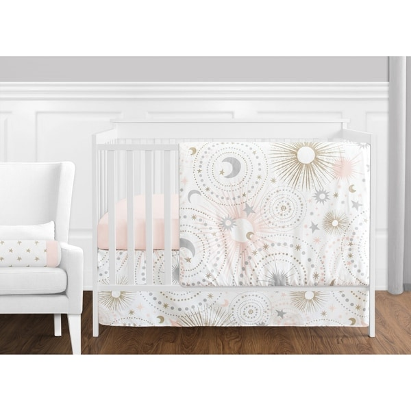 Sweet Jojo Designs Blush Pink Gold Grey & White Star and Moon Celestial Collection Baby Girl 11-pc Bumperless Crib Bedding Set