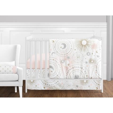 Sweet Jojo Designs Blush Pink Gold Grey & White Star and Moon Celestial Collection Baby Girl 11-pc Bumperless Crib Bedding Set